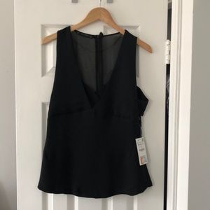 NWT Zara black top with side cut outs - M